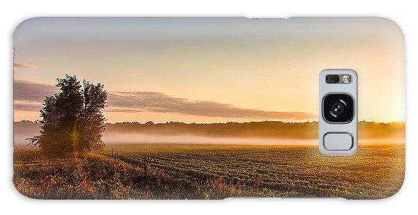 Morning Sun Over Farmland Galaxy Case