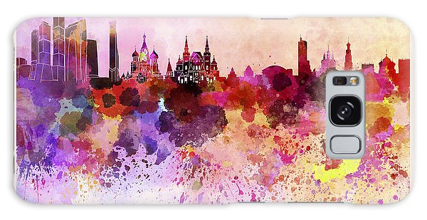 Moscow Skyline Galaxy S8 Case - Moscow Skyline In Watercolor Background by Pablo Romero