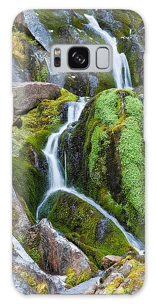 Mossy Waterfall At Snow Lake Galaxy Case by Jeff Goulden
