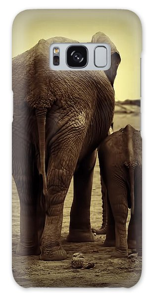 Mother And Baby Elephant In Black And White Galaxy Case