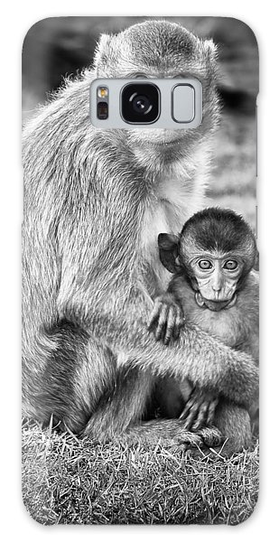Wildlife Galaxy Case - Mother And Baby Monkey Black And White by Adam Romanowicz