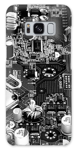Motherboard Black And White Galaxy Case by Vinnie Oakes