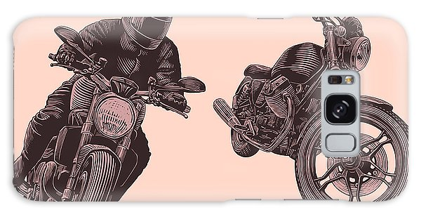 Motor Galaxy Case - Motorcycle. Hand Drawn Engraving by Marzufello