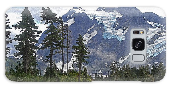 Mount Baker And Fir Trees And Glaciers And Fog Galaxy Case by Tom Janca