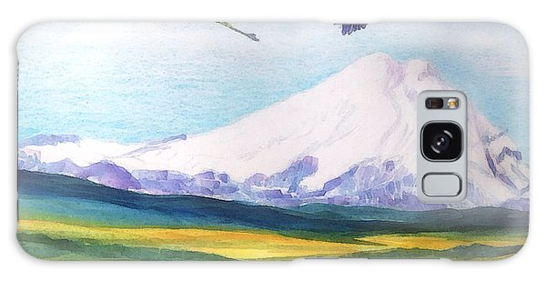 Mount Elbrus Watching Blue Herons Fly Over Sunflower Fields Galaxy Case