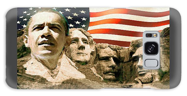 Barack Obama On Mount Rushmore - American Art Poster Galaxy Case