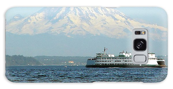 Mount Rainier And Ferry Galaxy Case by John Bushnell