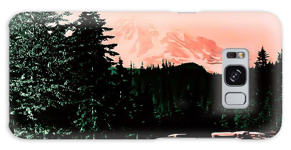 Mount Rainier With Vintage Cars Early 1900 Era... Galaxy Case