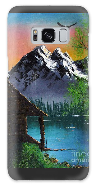 Mountain Lake Cabin W Eagles Galaxy Case
