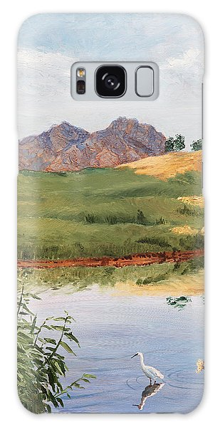 Mountain Landscape With Egret Galaxy Case