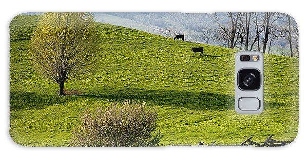 Mountain Pasture With Two Cows Galaxy Case by John Pagliuca