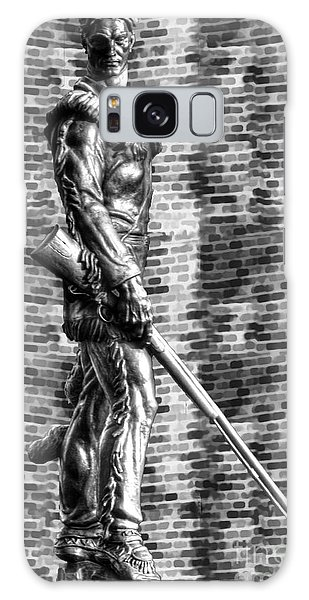 Galaxy Case featuring the photograph Mountaineer Statue Bw Brick Background by Dan Friend