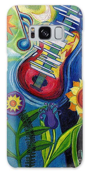 Music On Flowers Galaxy Case by Genevieve Esson