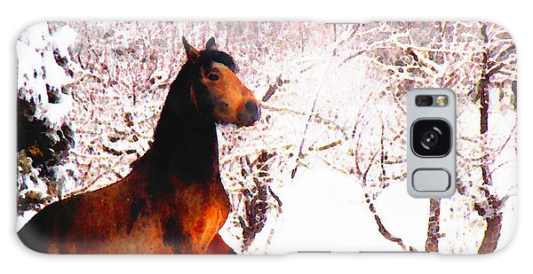 Mustang In April Snow Galaxy Case by Anastasia Savage Ealy