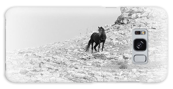 Mustang On Hill 2 Bw Galaxy Case