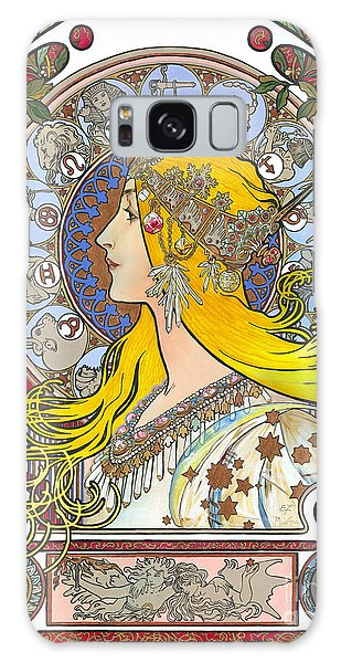 My Acrylic Painting As An Interpretation Of The Famous Artwork Of Alphonse Mucha - Zodiac - Galaxy Case by Elena Yakubovich