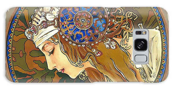 My Acrylic Painting As Interpretation Of Alphonse Mucha- Byzantine Head. The Blonde. Diagonal Frame. Galaxy Case by Elena Yakubovich