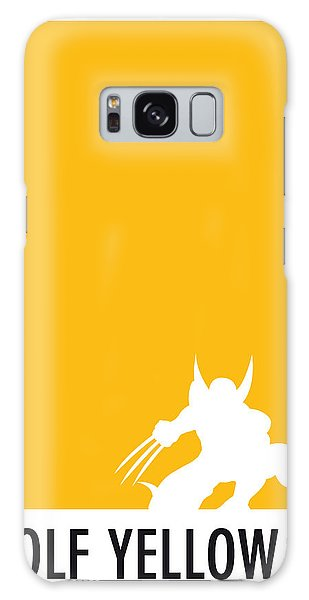 My Superhero 05 Wolf Yellow Minimal Poster Galaxy Case by Chungkong Art