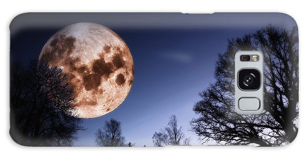 Mysterious Full Moon Rising Over Forest Galaxy Case