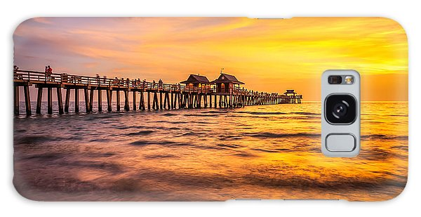 Naples Pier Sunset Galaxy Case