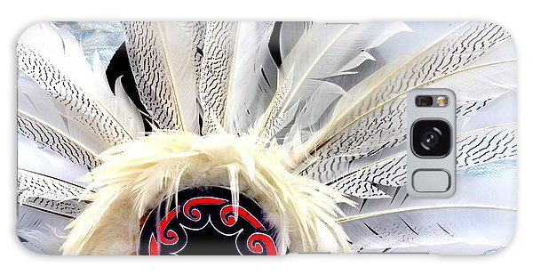 Native American White Feathers Headdress Galaxy Case