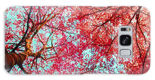 Abstract Red Blue Nature Photography Galaxy Case by Artecco Fine Art Photography