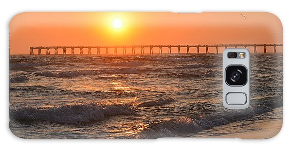 Navarre Beach And Pier Sunset Colors With Birds And Waves Galaxy Case