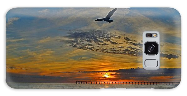 Navarre Beach And Pier Sunset Colors With Gulls And Waves Galaxy Case by Jeff at JSJ Photography