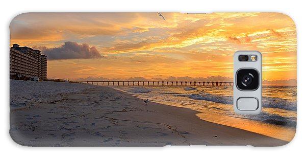 Navarre Pier And Navarre Beach Skyline At Sunrise With Gulls Galaxy Case