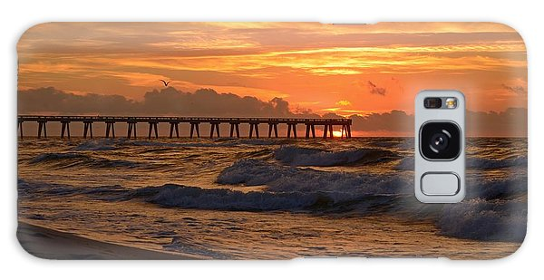 Navarre Pier At Sunrise With Waves Galaxy Case