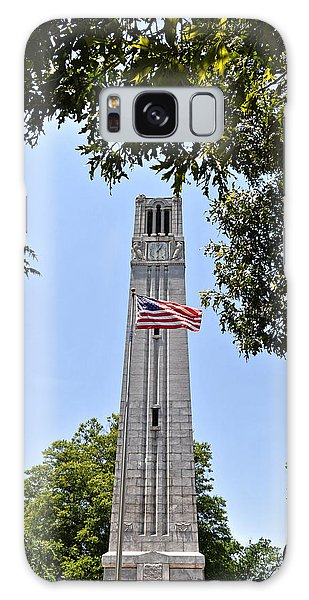 Galaxy Case - Nc State Memorial Bell Tower And Us Flag by Paulette B Wright