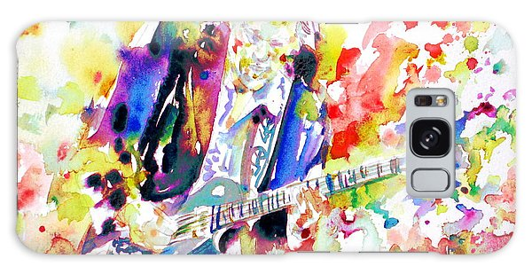 Neil Young Playing The Guitar - Watercolor Portrait.2 Galaxy Case