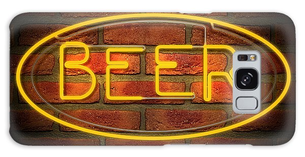 Bar Galaxy Case - Neon Beer Sign On A Face Brick Wall by Allan Swart