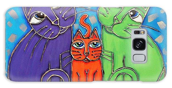 Neon Cat Trio #1 Galaxy Case