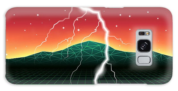 Flash Galaxy Case - Neon New Retro Wave Landscape With by Swill Klitch