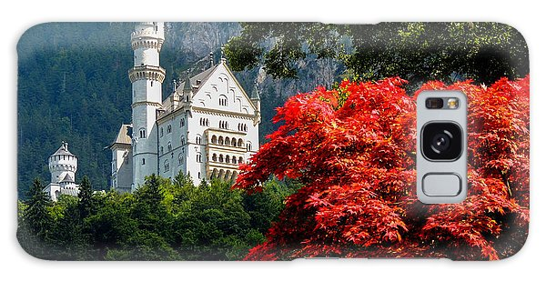 Neuschwanstein Castle With Red Foliage Galaxy Case