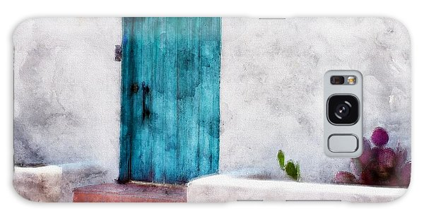 New Mexico Turquoise Door And Cactus  Galaxy Case by Barbara Chichester