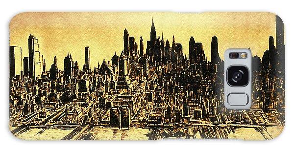 New York Skyline 78 - Mid Manhattan Ink Watercolor Painting Galaxy Case