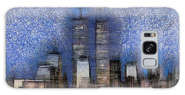 New York City Blue And White Skyline Galaxy Case