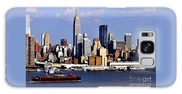 New York City Skyline With Empire State And Red Boat Galaxy Case