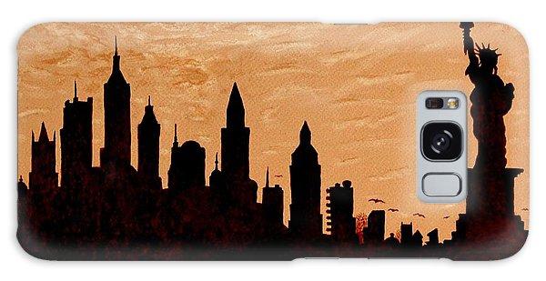 New York City Sunset Silhouette Galaxy Case