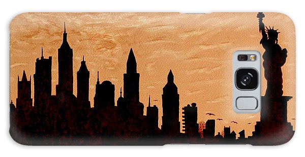 New York City Sunset Silhouette Galaxy Case