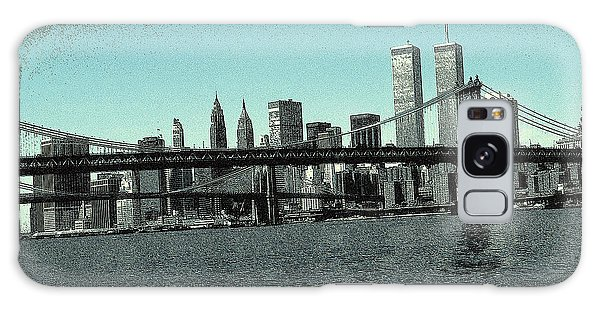 New York Downtown Manhattan Skyline - Blue Panorama Galaxy Case