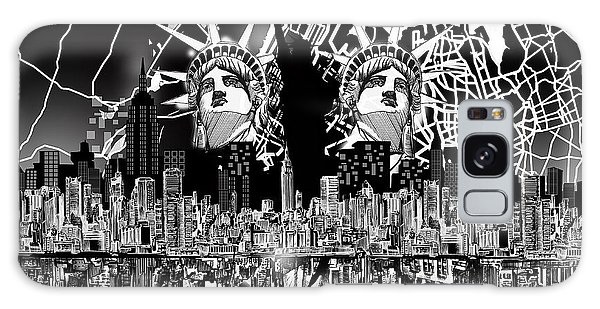 New York Map Black And White 2 Galaxy Case