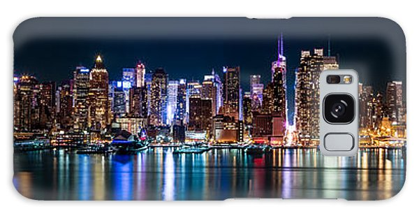 New York Panorama By Night Galaxy Case by Mihai Andritoiu