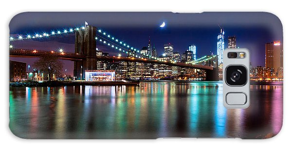 New York Skyline And Brooklyn Bridge With Crescent Moon Rising Galaxy Case