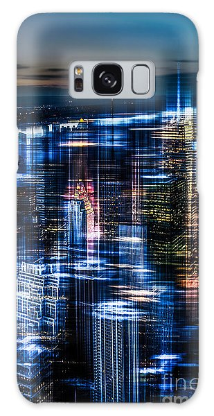 New York - The Night Awakes - Blue I Galaxy Case