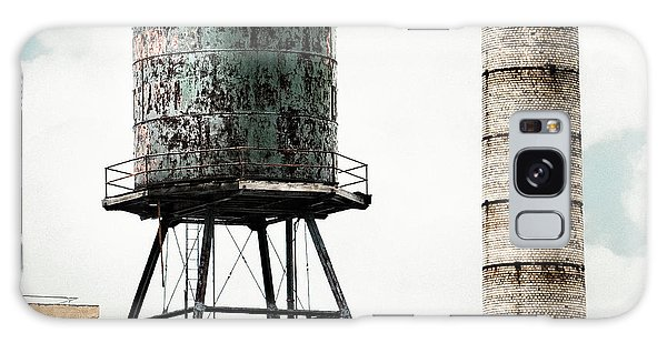 Galaxy Case featuring the photograph Water Tower And Smokestack In Brooklyn New York - New York Water Tower 12 by Gary Heller