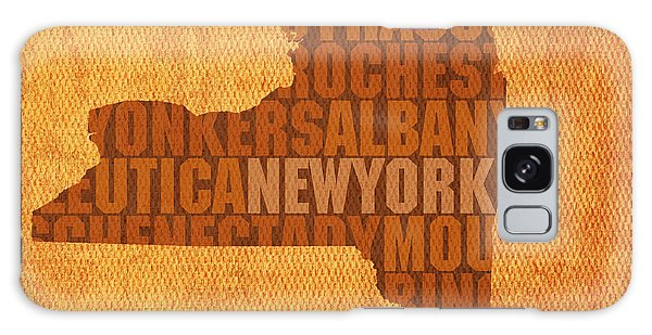 City Scenes Galaxy S8 Case - New York Word Art State Map On Canvas by Design Turnpike