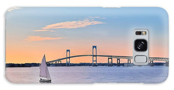 Newport Bridge Twilight Sunset With Sailboat Rhode Island Usa Galaxy Case